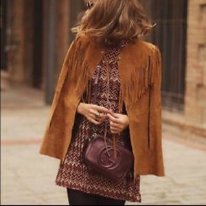 NWT Zara brown leather cape poncho with fringe